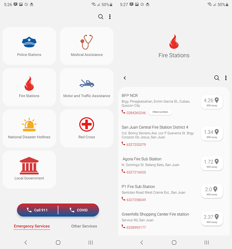 Emergency services contact and location info in one app