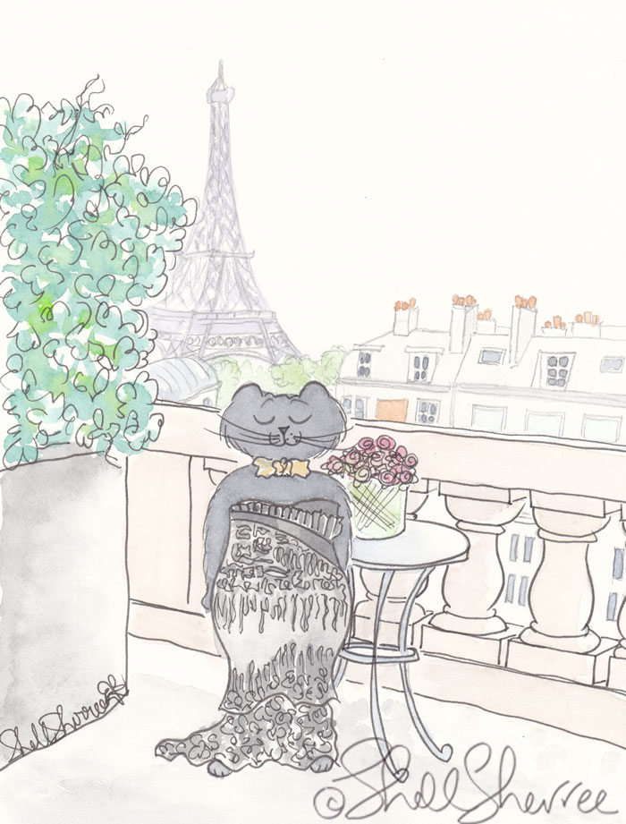 Feline Curves in Black with Eiffel Tower illustration © Shell Sherree all rights reserved