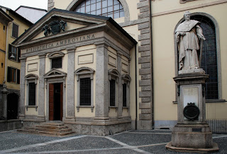 The entrance to the Biblioteca Ambrosiana, the historic library in central Milan