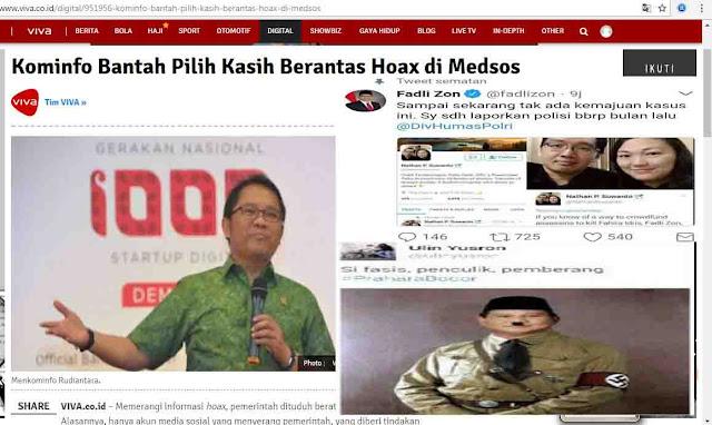 Kominfo Sebut Tak Pilih Kasih Berantas Hoax di Medsos, Ini Tanggapan Pedas Rakyat..