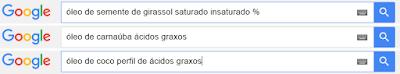 Pesquisas no Google: óleo de semente de uva, carnaúba e coco perfil de ácidos graxos