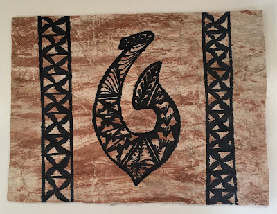 Tonga Tapa with fish hook motif