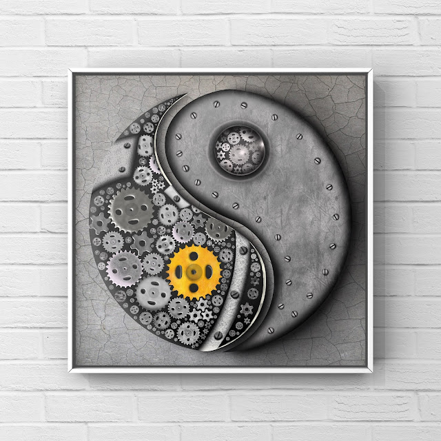yin and yang art with cogs and steel