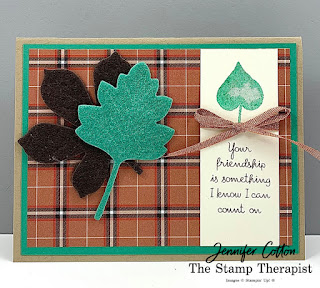 Love of Leaves Bundle by Stampin' Up!®.  I also used the Basket Weave & Metallic Ribbon Combo, Festive Felt Sheets Combo Pack, and Plaid Tidings Designer Series Paper (DSP).  #Stampinup #StampTherapist