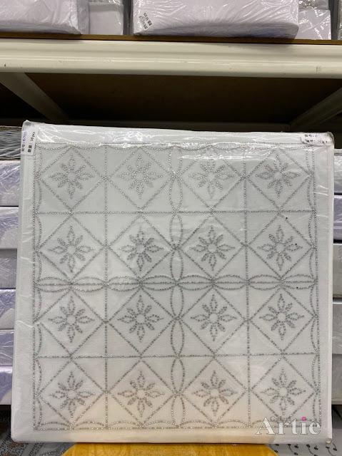 Hotfix stickers dmc rhinestone aplikasi tudung bawal fabrik pakaian rekaan geometrik kotak & bunga silver