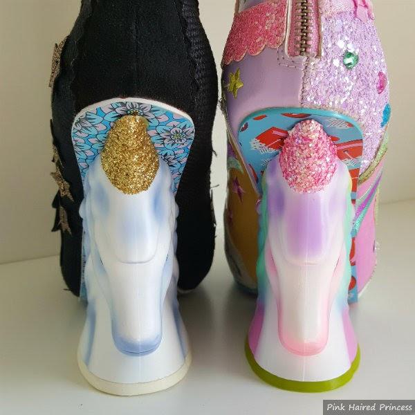 old blue shaded unicorn heel versus pink glitter horn unicorn heel