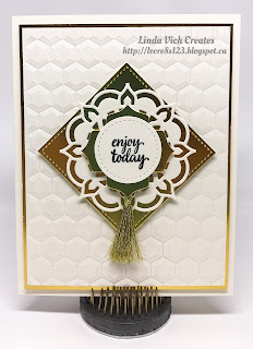 Linda Vich Creates: Eastern Palace Suite and Stitched Shapes Framelits. Very Vanilla and Gold showcase the ornate beauty of the Eastern Palace Suite in this card.