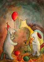 Postikorttikuvitus, missä Hulmu Hukka ja Haukku Koira tulevat suden syntymäpäiväjuhlille / Postcard illustration of Hulmu and Haukku dog in birthday party of wolf.
