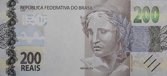 Imagem em detalhe nova nota de 200 reais lado da esfinge
