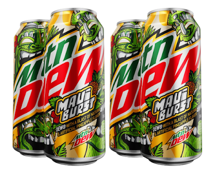 Four UNOPENED 4 Mountain Dew Maui Burst 16 oz cans Dollar General Exclusive