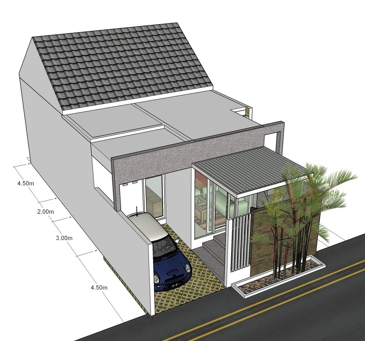 Desain Rumah Memanjang ke Belakang dengan Garasi Mobil