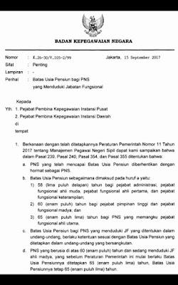 Informasi Peraturan Batas Usia Pensiun PNS 2017 yang Menduduki Jabatan Fungsional Sesuai Surat Kepala BKN