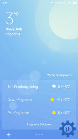 Aplikacja pogody w MIUI