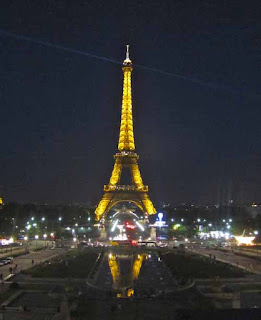 Eiffel Tower Lit Night Paris France