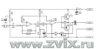 Принципиальная схема микрофонного усилителя. Устройство собрано на двух канальном операционным усилителе TLO82