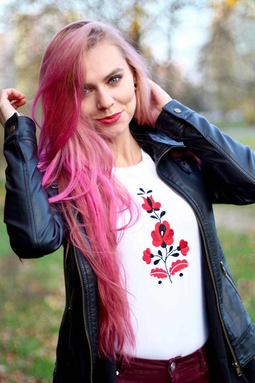 ružové vlasy, pink hair, autumn outfit