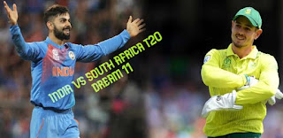 India vs south africa t20 dream 11 fantasy