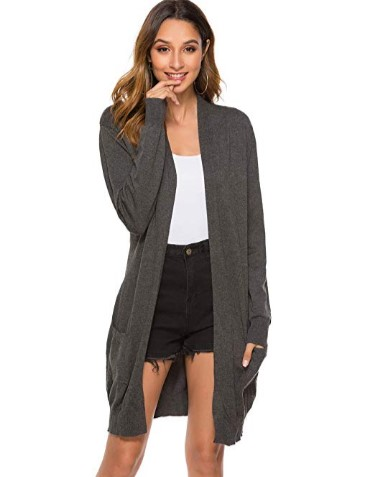 40% OFF Long Sleeve Lightweight Open Front Long Knit Cardigan