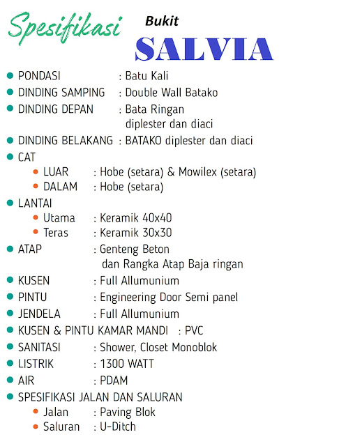 Spesifikasi Rumah Bukit SALVIA Citra Indah City
