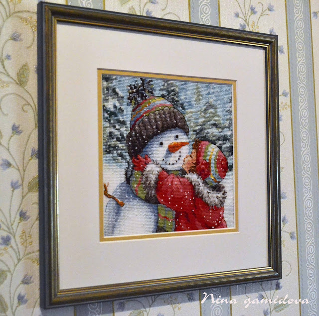 Dimensions, Kit #70-08833, A Kiss for Snowman, design by Hazel Lincoln