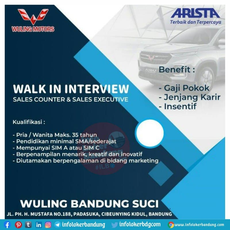 Walk In Interview Wuling Suci Bandung 7 Juni 2021