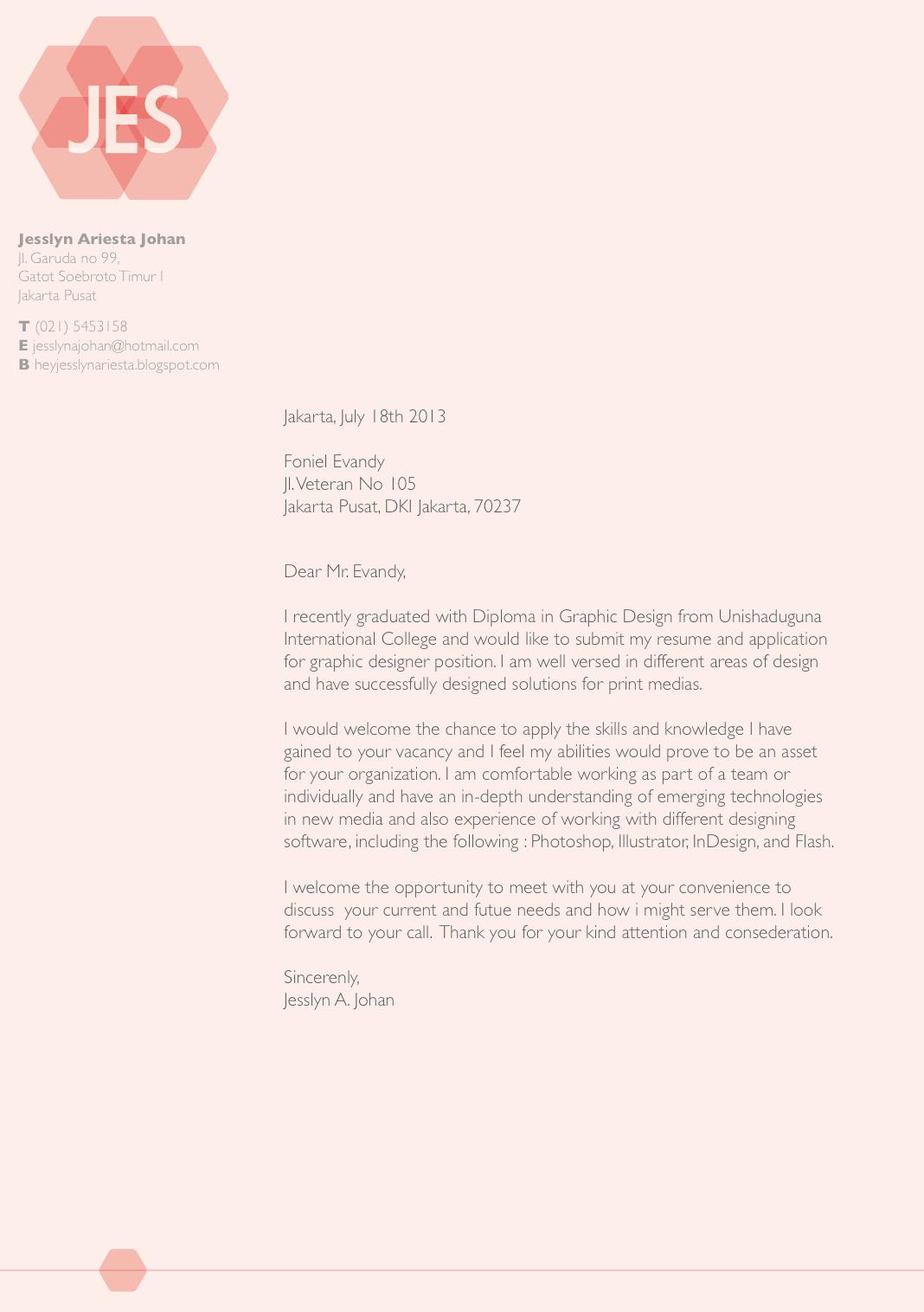 Hey Im Jesslyn Cover Letter CVResume  Reference Letter