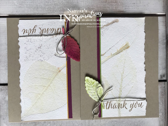 By Angie McKenzie for the Third Thursdays Blog Hop; Click READ or VISIT to go to my blog for details! Featuring the Beautiful Autumn Photopolymer Stamp Set from the Stampin' Up! Aug-Dec 2020 Mini Catalog for creating seasonal thank you cards for teachers using the Duoprinting with Chlorophyll and Paper Tearing Techniques; #leaves #naturesinkspirations #seasonalcards #nature #beautifulautumnstampset #stitchedleavesdies #linenthread #papertearing #duoprintingwithchlorophyll  #fallcards #thankyoucards #forteachers #makingotherssmileonecreationatatime