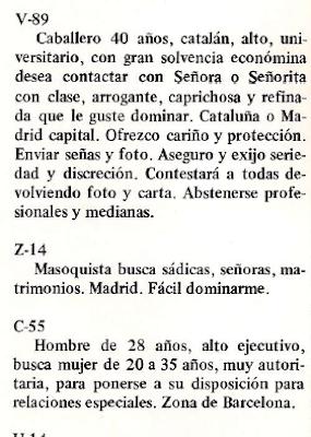 BDSM sadomasoquismo anuncios contactos antologia vintage 1978 luis vigil