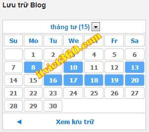 Lịch âm dương cho blogspot