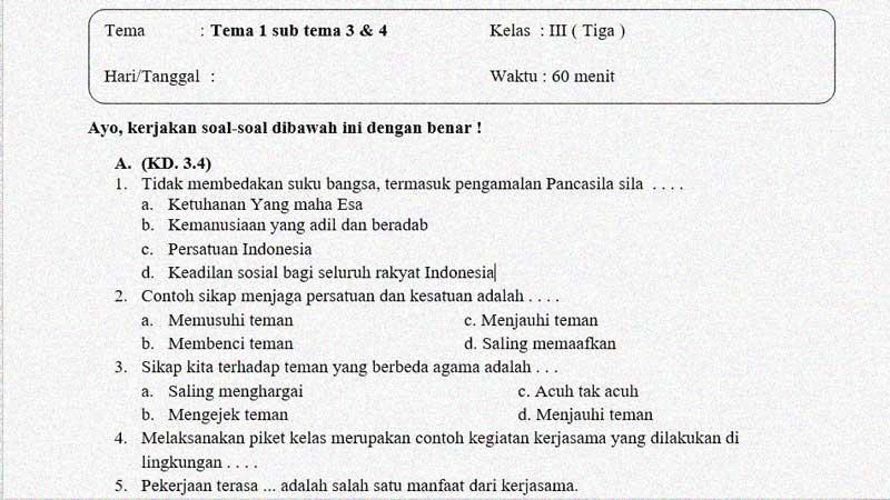 Soal Penilaian Kelas 3 Tema 1 Subtema 3 dan 4 + Kunci Jawaban