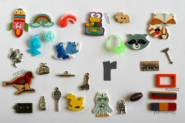 TomToy Individual letter R I spy trinkets for alphabet, Miniature abc objects, Montessori alphabet. Sorting toddler activities