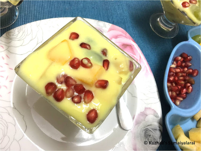 FRUIT CUSTARD RECIPE USING CUSTARD POWDER- HOW TO MAKE MIXED FRUIT CUSTARD