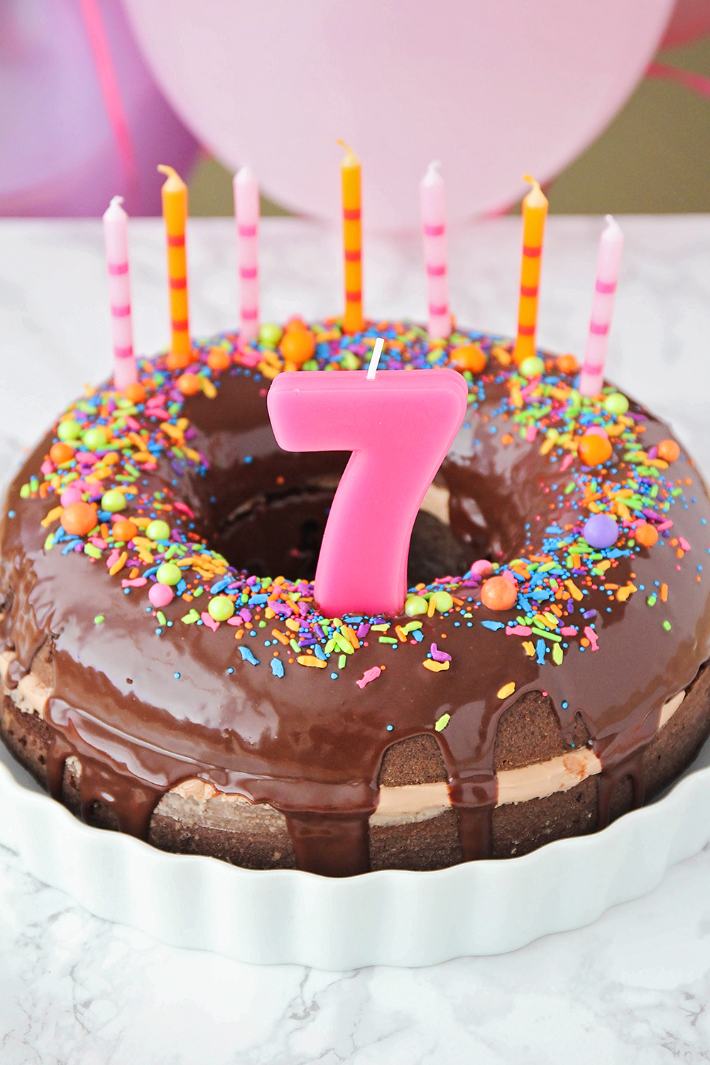 This Fun And Whimsical Chocolate Donut Birthday Cake Is So Delicious Indulgent