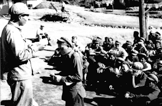 American prisoners of war in a Chinese POW camp in North Korea