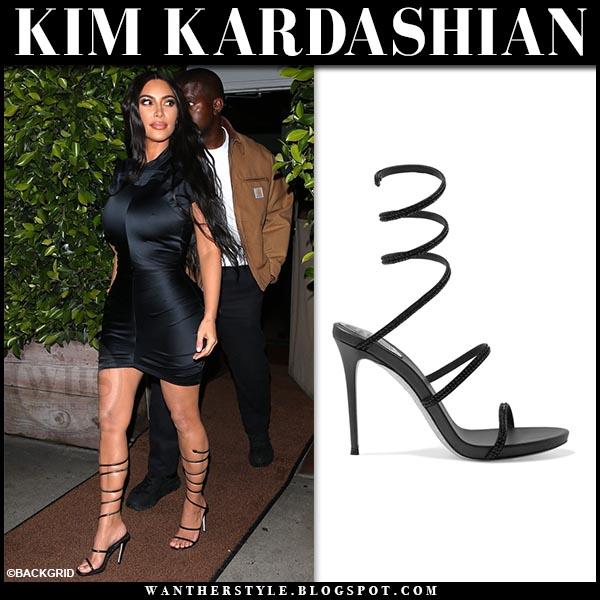 5b3d74a127b Kim Kardashian in black mini dress and black strappy sandals rene caovilla  cleo. Celebrity night
