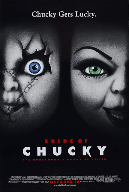 "Universal Pictures presents the ""Child's Play 2"" (1998) movie poster, starring Brad Dourif, Jennifer Tilly, Katherine Heigl, Nick Stabile, Alexis Arquette, John Ritter, and Kathy Najimy"