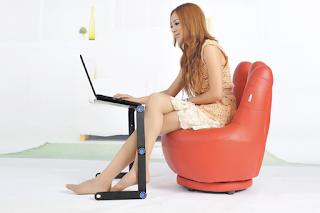 Meja Laptop table portable aluminium + cooler Fan - meja Lipat kerja