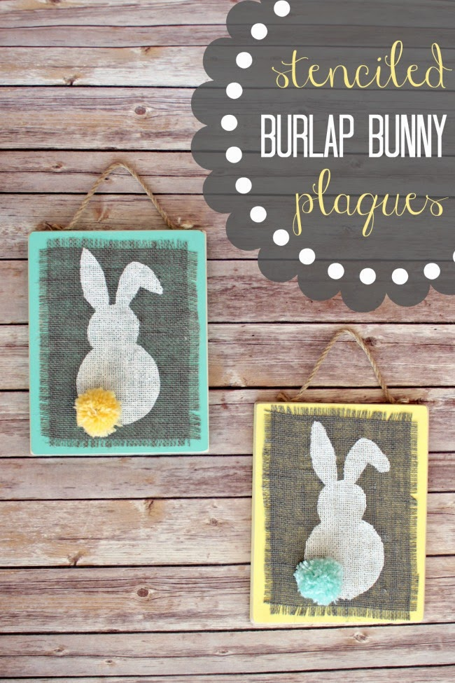 Stenciled burlap bunny plaques.