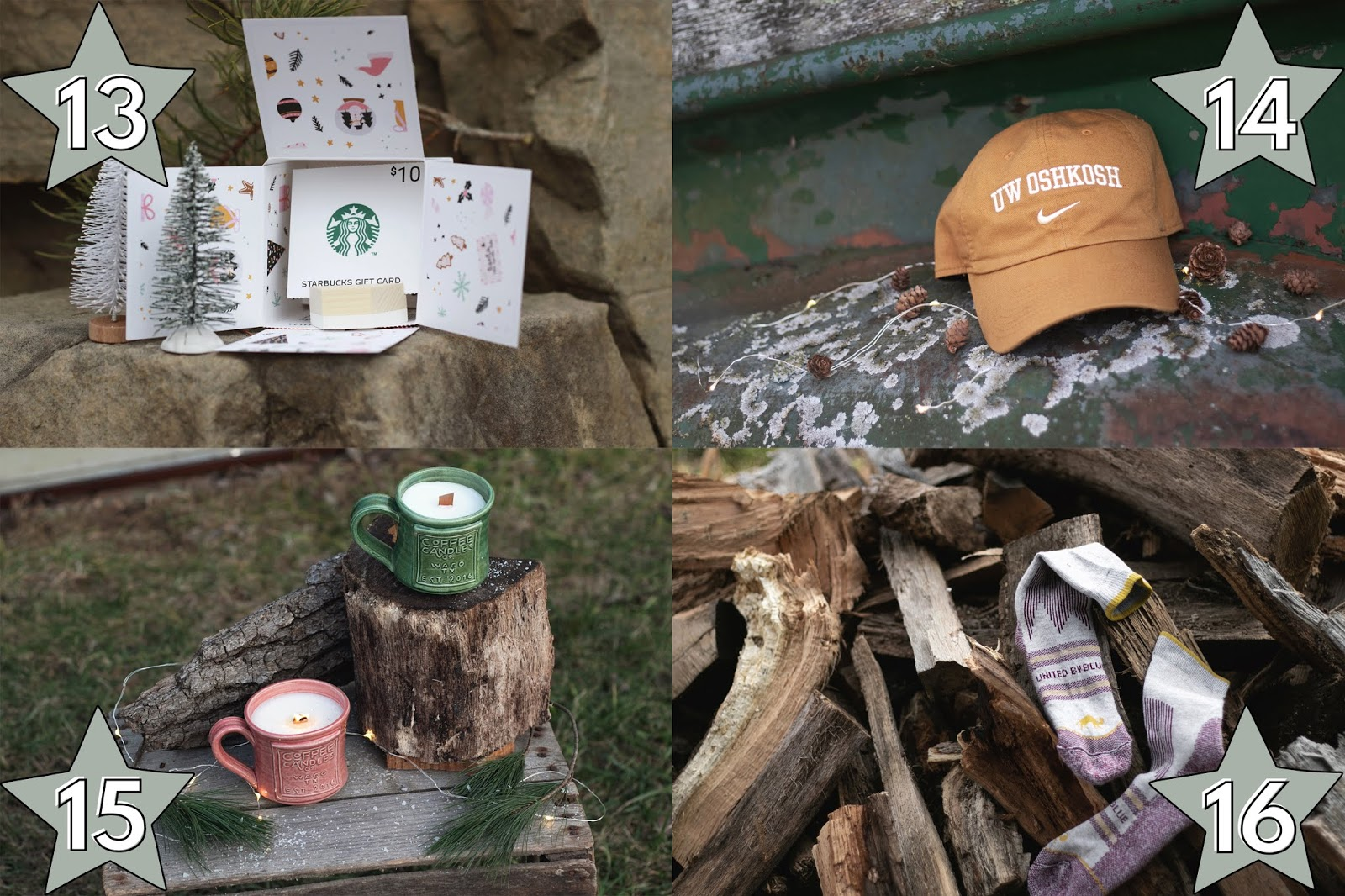 unique gift ideas for him, greetabl gift box holiday gift idea for him, baseball hat affordable gift ideas for him, coffee candle co candles gift idea for him, United by Blue buffalo socks gift idea for him, gifts for him under $25, holiday gift ideas for him