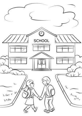 Tranh tô màu trường học và học sinh