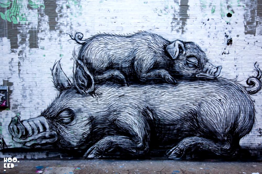 Belgian Street Artist Roa's animal murals in London and Brighton.