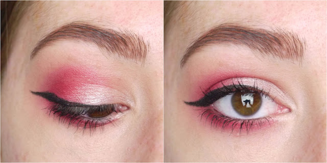 A pink eye look, with hot pink on the outer edge and lower lashline, shimmery pale pink on the inner corner, and black winged eyeliner