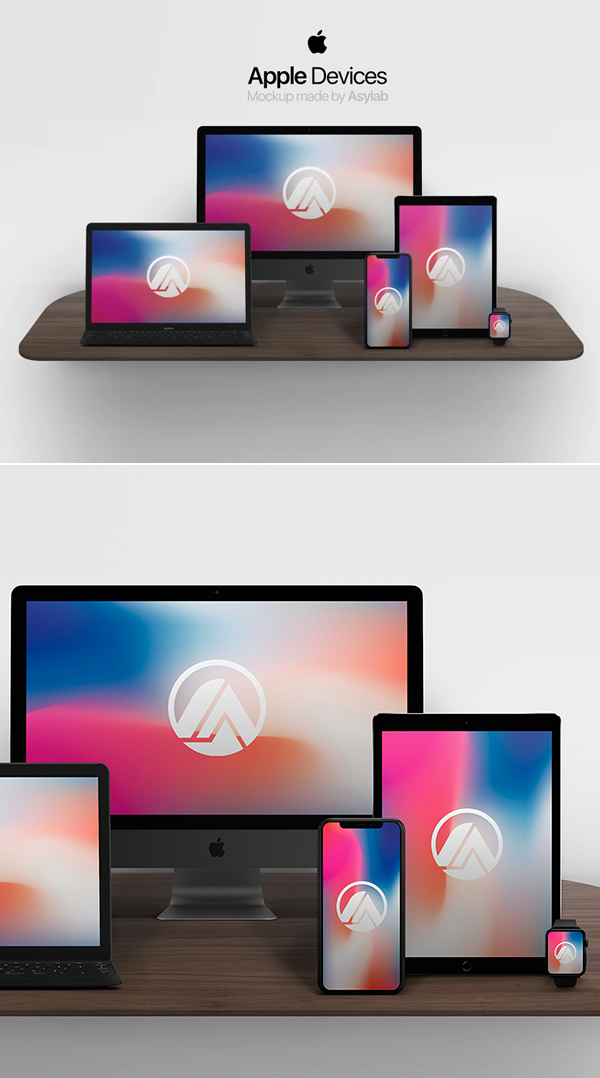 Download Free Mockup PSD 2018 - Free Apple Devices Mockup PSD Templates