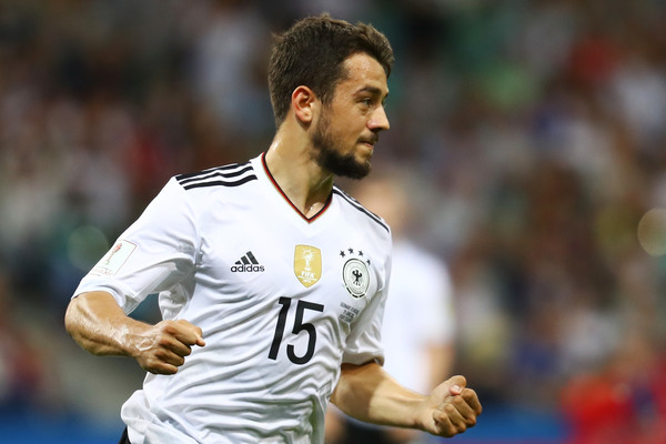 Amin Younes of Germany celebrates scoring his side's fourth goal during the FIFA Confederations Cup Russia 2017 Semi-Final between Germany and Mexico at Fisht Olympic Stadium on June 29, 2017 in Sochi, Russia
