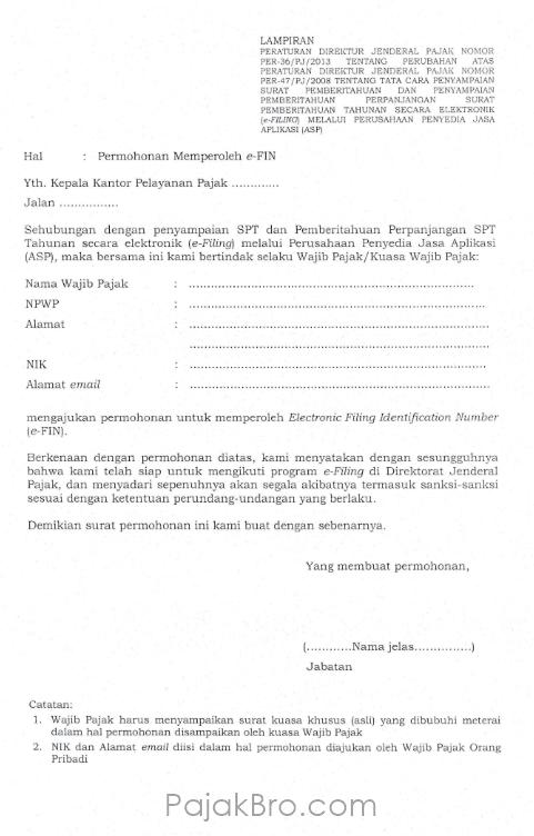 formulir permohonan EFIN Pajak