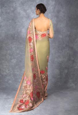 Manish Malhotra saree collection Olive Green tulle Saree back side