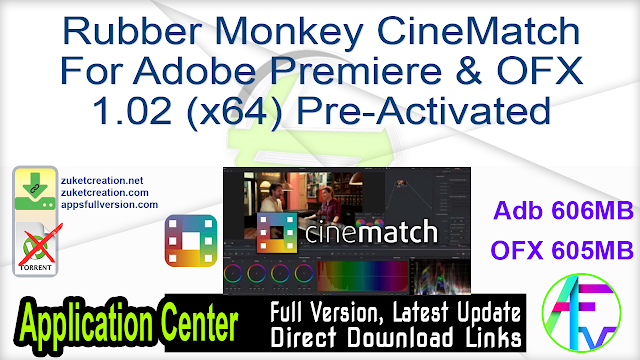Rubber Monkey CineMatch for Adobe Premiere & OFX 1.02 (x64) Pre-Activated