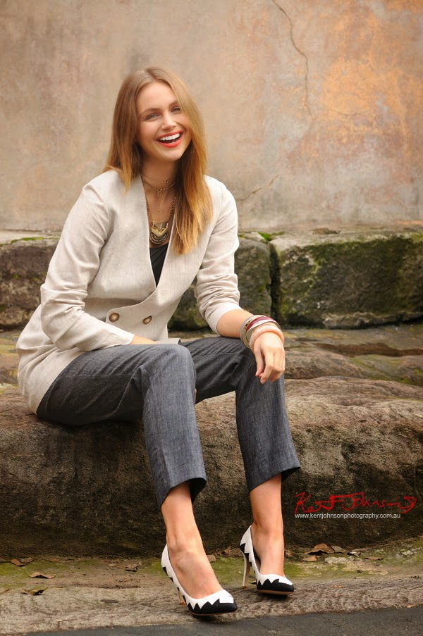 Ksenija Lukich laughing!  By Kent Johnson for Braka Woman's Fashion - Linen jacket and pants, Fashion Branding and Marketing Photography on location Sydney, Australia.
