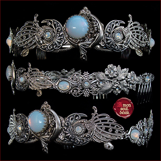 couronne triple lune celtique pierre de lune blanc opale déesse pagan wicca bijoux cheveux