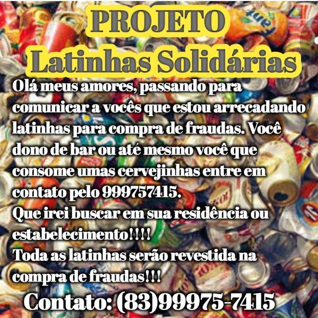 """Confira o Projeto Latinhas Solidárias da ONG """"Amigos Unidos Fazendo o Bem""""Mari -PB"""